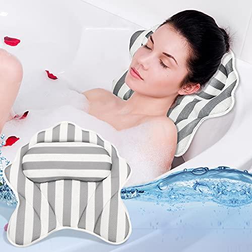 TWBEST Cuscino per Vasca da Bagno,40 * 40cm Cuscino da Bagno con 6 Ventose,Spa Pillow/Bath Pillow/Cuscino Poggiatesta Ergonomico per Vasca Idromassaggio Home Spa Relax per Schiena Spalle Collo