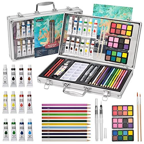 Watercolor Painting Kit ,Portable Drawing Art Set for Adult,Kids,Beginner Professional Art Supplies as Gift with Watercolor Cake,Watercolor Paints, Color Pencils,Tools(Aluminum Case)