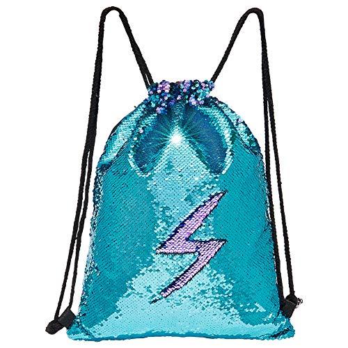 MHJY Sequin Bag Mermaid Drawstring Backpack Sports Beach Dance Bag (Blue/Purple)