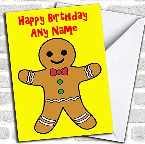 Gingerbread Man Verjaardagskaart met envelop, kan volledig gepersonaliseerd worden, snel en gratis verzonden