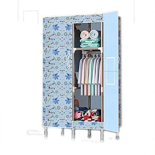 FHISAO Tragbare offene Kleiderschrank, einfache Stoff Kleiderschrank, Faltbarer Kleiderschrank Kleiderbügel Organizer Schrank Regalstange Hängen Kleidung Anzeigen,W,125 * 45 * 170cm