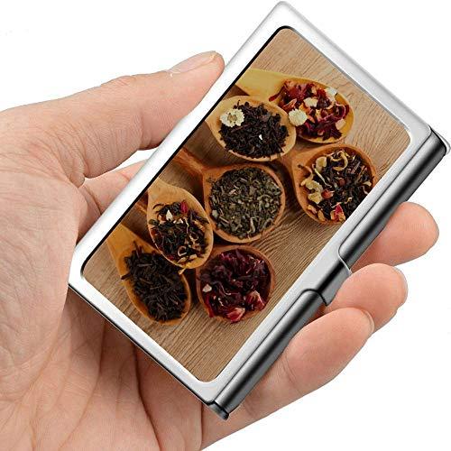 Juego profesional de tarjetas de visita de metal con cucharas de té seco sobre soporte de madera para tarjetas de visita delgadas