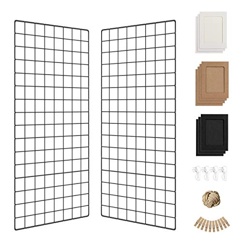 Wall Photo Grid Shelf, Wall Hanging Ins Art Display Grid Panel for Decor & Storage, Metal Wire Notice Boards & Memo Board, Mesh Tool Organiser, Wall Photo Frame 2 Pcs (Black, 15.7 x 31.5 inches)