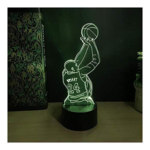 DZX 3D-nachtlampje, NBA-basketbal, 7 kleuren, touch-LED-optische folie voor kinderen, jongens en jongens, beste verjaardag, kerstcadeau