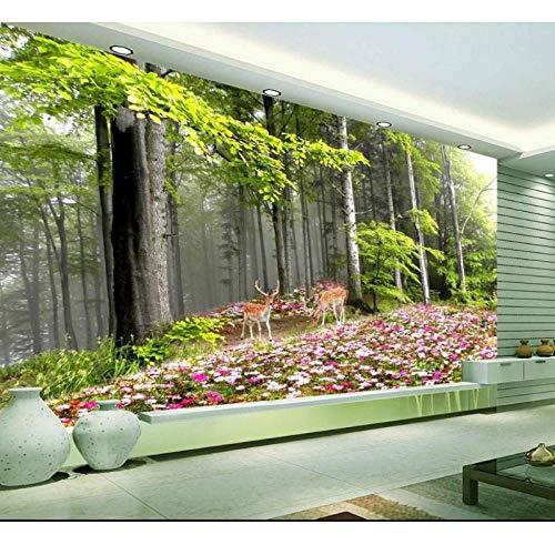 Muurschildering 3D Fotobehang, woonkamer bank achtergrond behang Noorwegen bos hert bloem afbeelding behang, wooncultuur 280 cm (B) x 180 cm (H)