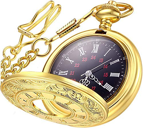 LYMFHCH Vintage Pocket Watch Roman Numerals Scale Quartz Mens Womens Watch with Chain Christmas Birthday Gifts