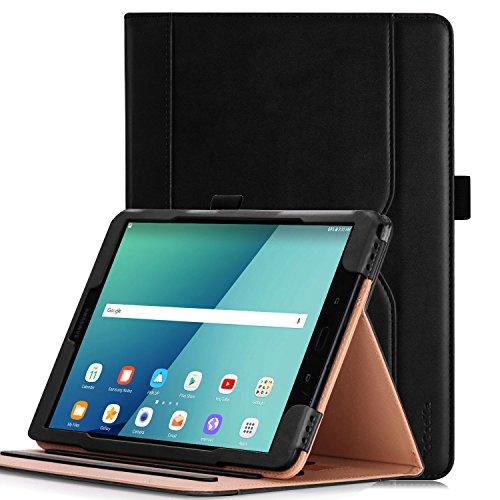 Hülle für Samsung Galaxy Tab S3 9.7 - iHarbort PU-Leder Hülle Schutzhüllen Hülle Cover für Samsung Galaxy Tab S3 9.7 Zoll SM-T820 T825 mit Kartensteckplatz & Auto-Weck/Schlaf-Funktion, Schwarz