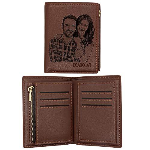 ABIsedrin Billetera Personalizada Para Los Hombres Carteras de Fotos Personalizadas Plegable Cuero Billetera Regalo para Papá, Billetera erecta