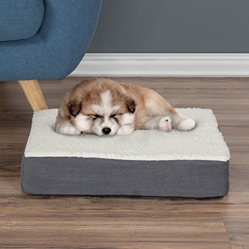 PETMAKER Orthopedic Sherpa Top Pet Bed with Memory Foam and Removable Cover 20x15x4 Gray