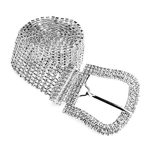 Luxury Sparkling Silver Plated Crystal Rhinestone Belt Woman Waistband