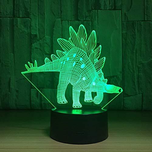 Animal Stegosaurus 3D LED Illusion Mesa decoración de escritorio lámpara 7 colores cambiantes para dormitorio decoración del hogar regalo para niños y niñas