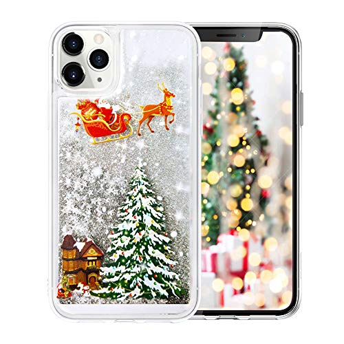 Fusicase for iPhone 11 Pro Max Glitter Case Cute Merry Christmas Bling Liquid Floating Sparkle Shiny Luxury Protective Cover Rudolph Santa Claus Deer Tree Pattern Case for iPhone 11 Pro Max Silver