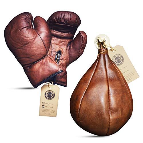 Retro Reborn Bolsa de velocidad de cuero y guantes de boxeo de cuero de 12 onzas