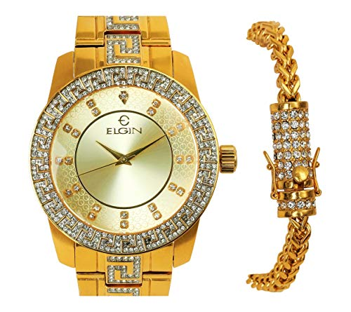 Mens Elgin 14k Gold Plated Stylish Luxurious Watch and Stainless Steel Franco Bracelet Set -  icedtag