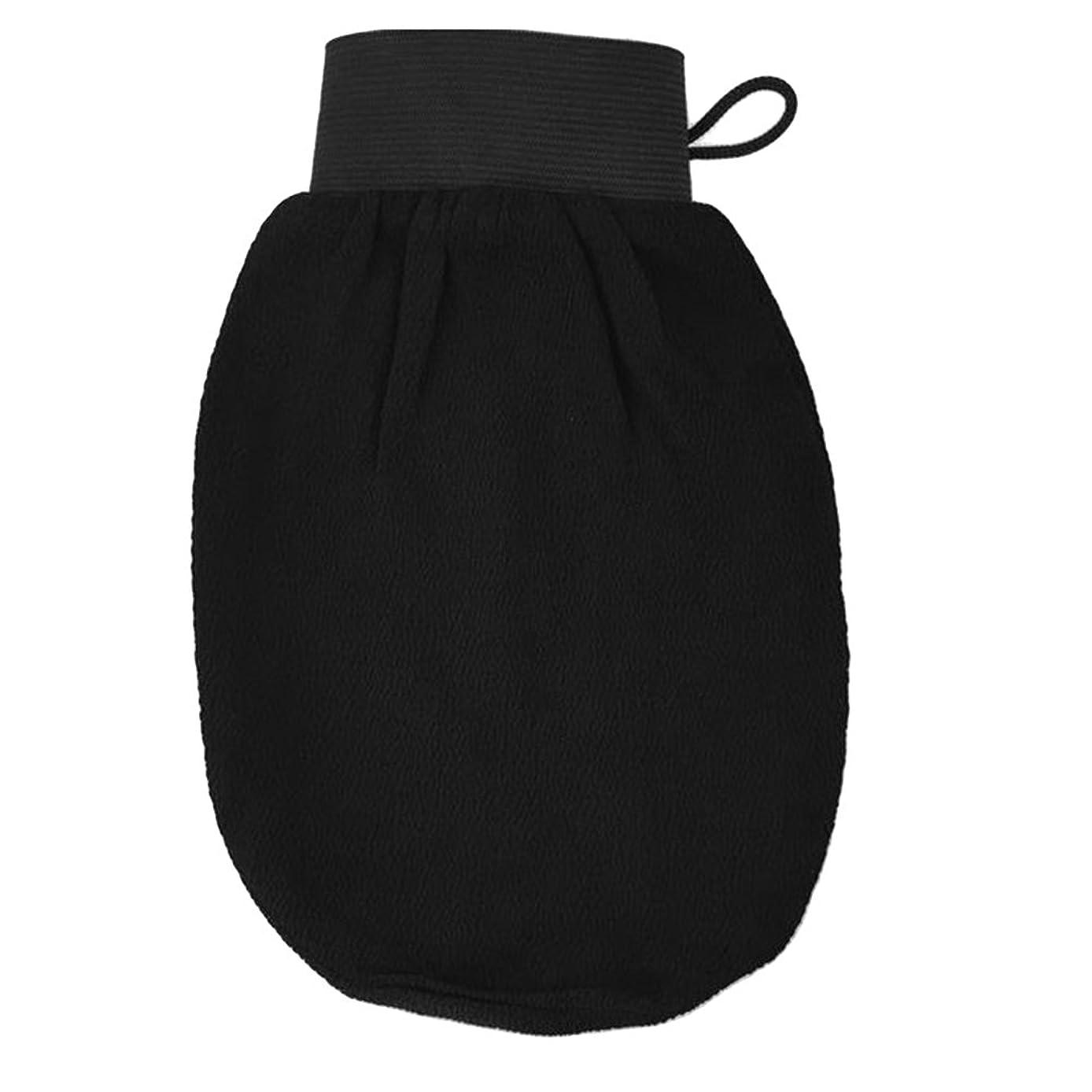 レルム溝クールROSENICE バスグローブ 浴用グローブ 角質取り 泡立ち 垢擦り 手袋 マッサージ ボディウォッシュ シャワー バスルーム 男女兼用 バス用品(ブラック)
