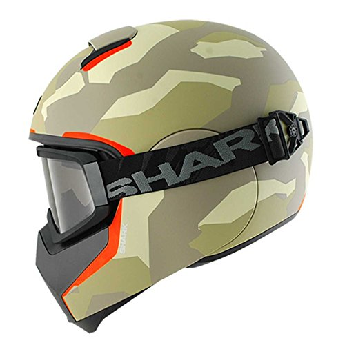 HE3922EEAOM - Shark Vancore Wipeout Mat Motorcycle Helmet M Matt Ecru Anthracite Orange (EAO)