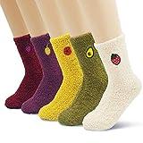 Women's Soft Fuzzy Fleece Warm Winter Ankle Socks Gift Set with Cute Fruit Embroidery 5 pack -  Jinny's Socks