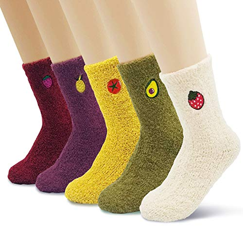 Women's Soft Fuzzy Fleece Warm Winter Ankle Socks Gift Set with Cute Fruit Embroidery 5 pack