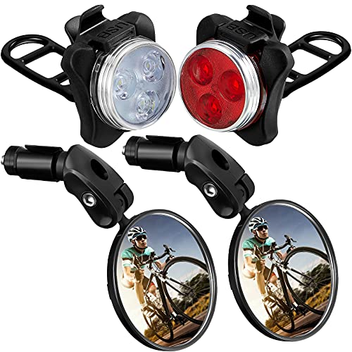 4 Pieces Bike Mirror Bike Light Set Safe Bicycle Rearview Mirror USB Rechargeable Bicycle Light Cycling Mirror Adjustable Handlebar Convex Mirror for Mountain Road Bike Bright Bike Headlight 4 Mode