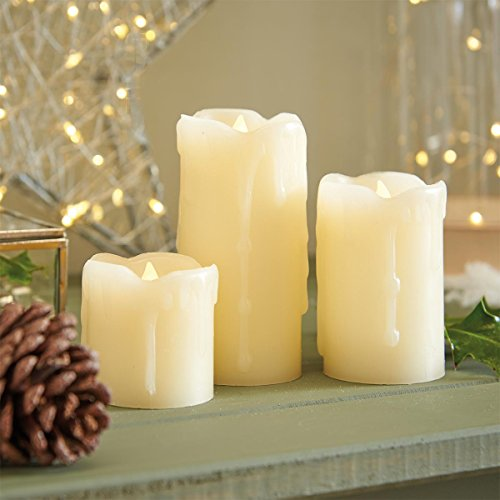 Festive Lights Cream Pillar Candles - Real Wax - 3 Pack - Flickering Flame - Warm White LED - Battery Operated