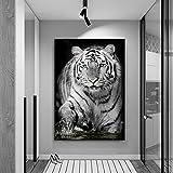 Tigre blanco lienzo pintura animal arte impresión pared arte imagen cartel abstracto para sala de estar decoración del hogar obra de arte imagen 40x60cm (15.75x23.62in) sin marco