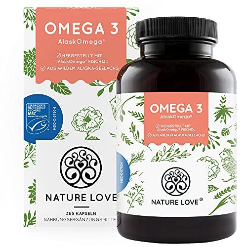Omega 3 aus wildem Alaska-Seelachs von NATURE LOVE (leicht einzunehmende 365 Minikapseln) – MSC-zertifizierter Spitzenrohstoff AlaskOmega ® - hochdosiert, ohne Zusätze in Deutschland produziert