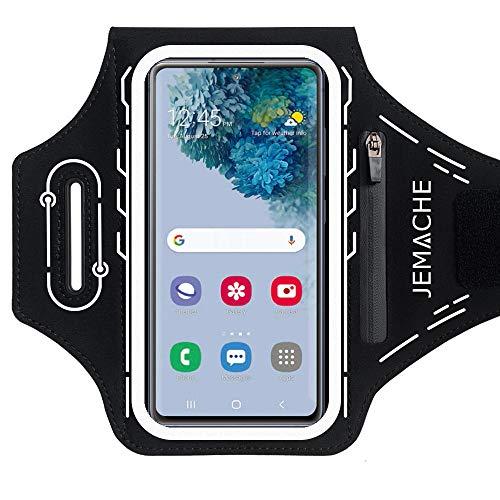 JEMACHE Running Sportarmband für Samsung Galaxy S21+, S20+, S10+, S9+, S21 Ultra 5G, S20 Ultra, S20 FE, Note 20 Ultra, 10 Plus, Gym Sport Armband mit Buds Plus Halterung (Schwarz)