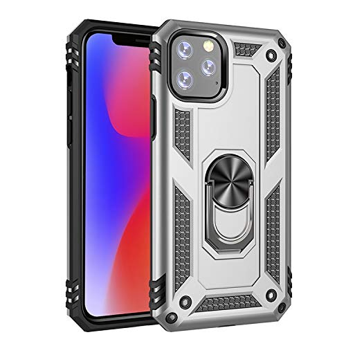 Tanxinxing for iPhone 11 Pro (5,8 Zoll) Neue Dual Layer Hybrid Stoß- Schutzhülle mit einem 360 Grad-Metalldreh Finger-Ring-Halter (Farbe : Silber)