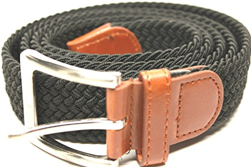DF 1.375' Casual Premium Genuine Leather Stretch Belts With Gunmetal Square Buckle…