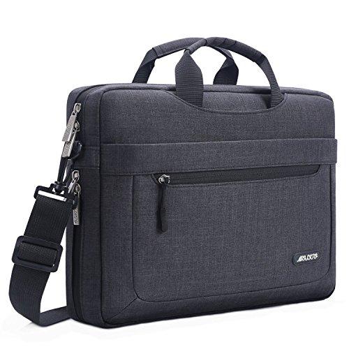 MOSISO Umhängetasche Laptoptasche Kompatibel mit 17-17,3 Zoll MacBook/Notebook/Chromebook, Polyester Schultertasche mit Einstellbar Tiefe beim Unterseite, Schwarz