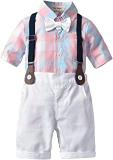 neveraway Boys Suspenders Plaid Short Sleeves Tops+Shorts Pants Outfits Set