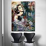 KWzEQ Impresión de póster Abstracta Acuarela niña y Animal Arte de la Pared Lienzo Pintura Oficina Sala de Estar decoración de la pared30X40cmPintura sin Marco