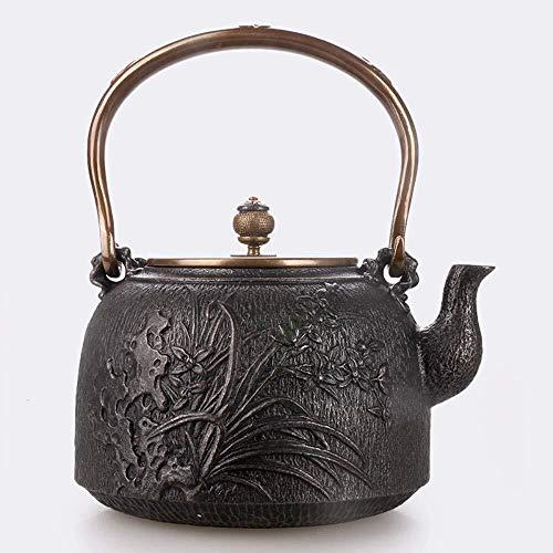 BANANAJOY Tetera, Juegos de té Teteras Tetera de hierro fundido té ollas de hierro tetera de artesanía de hierro viejo Pot Baogu Youlan de gran capacidad Manual de hierro fundido maceta original del h