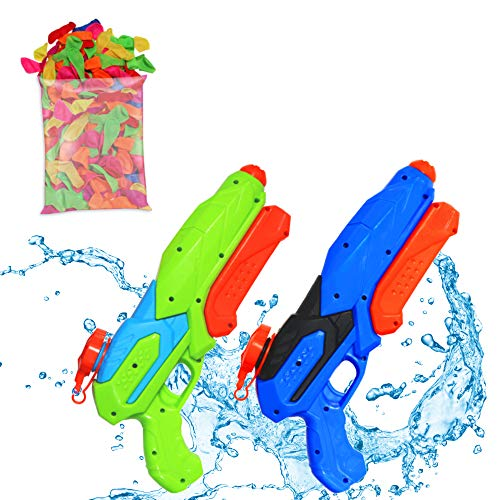 AlohaParty Water Guns Set - Fun Water Gun 2-Pack for Kids with 80 Water Balloons, Water Tap Adapter and Stickers - Leakproof Squirt Gun Kit - Big Water Blaster Toys - Watergun Gift Set