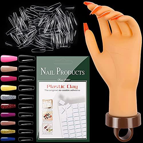 EBANKU Mano de práctica de uñas, flexible falso modelo de mano acrílico arte de uñas mano de entrenamiento con 54 piezas de práctica de uñas, arcilla blanca y 500 puntas...