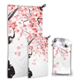 LONGYUU Blossom Cherry Tree Branches 2 Pack Microfiber Fun Beach Towel Toallas Set de Secado rápido Lo Mejor para el Gimnasio Viajes Mochileros Yoga Fitnes