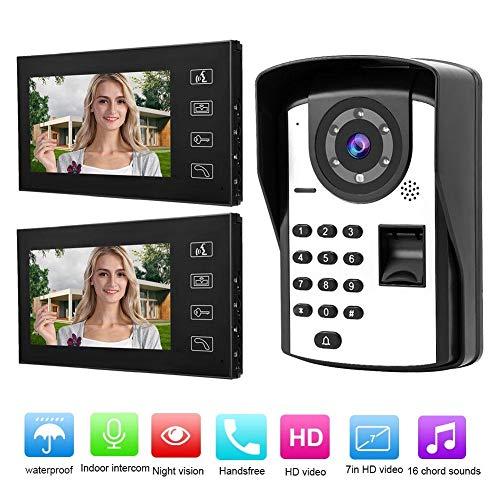 Garsent video-intercominstallatie, 7 inch monitor-deurintercomsysteem, bekabelde vingerafdruk-wachtwoord-video-deurbel-HD-cameraset zonder blokkering, 100-240 V, EU.