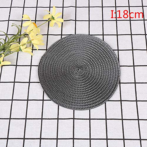 XMYNB Coasters 4Pcs Round Weave Placemat Table Mats Simple Style Dining Napkin Pads Non-Slip Heat Resistant Coaster Cushion Kitchen Party Decoration,Dark Gray 18Cm