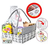 Diaper Caddy Organizer With FREE CHANGING PAD MAT & BIBS-For Changing Table-For Baby Boy Or Baby Girl-Crib, Pram & Car Organizer-Large Diaper Stackers & Caddies-Baby Shower Gift-Portable Non Rope Basket -Newborn Essentials Must Haves-Unisex-Nursery, Diapers (Gift Wrap Available) Hedgehog Animal Print