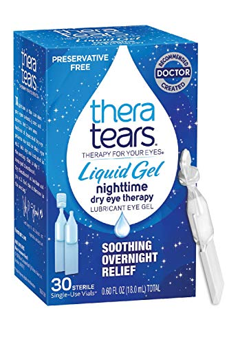Thera Tears Nighttime Therapy Lubricant Eyedrops for Dry Eyes, Preservative Free, Single-Use Vials,...