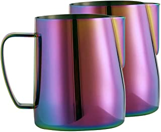 2-Pack of Milk Frothing Pitchers Stainless Steel Milk Pitcher 12 oz (350 ml, Rainbow)