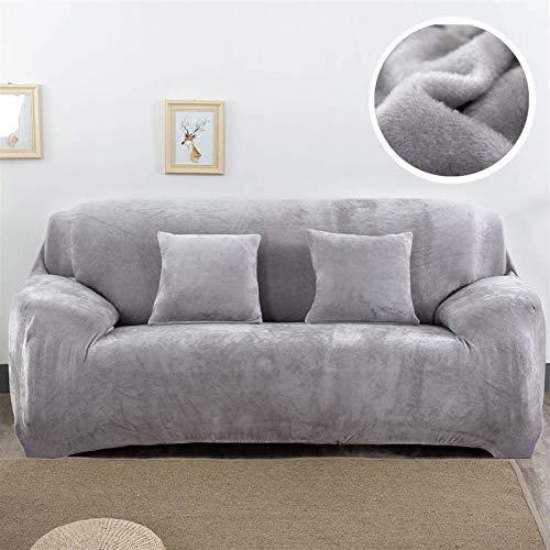 Cubierta de sofá de peluche de terciopelo espesar Universal Stretch Elastic Scouch Couch Cubierta de la esquina en forma de esquina de la esquina para la sala de estar (color: verde claro, Especificac