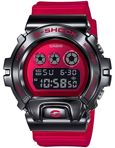 Men's Casio G-Shock Metal Bezel Red Resin Band Digital Watch GM6900B-4