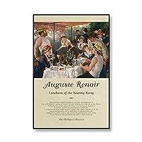 有名な8月のルノワール油絵キャラクターポスターキャンバスプリントアンティーク展レトロフレームレスキャンバス絵画A540x60cm
