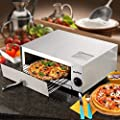 Goplus Pizza Oven, Stainless Steel Pizza Maker Machine, Pizza Baker W/Snack Pan, Snack Maker, Counter Top, for Commercial and Home