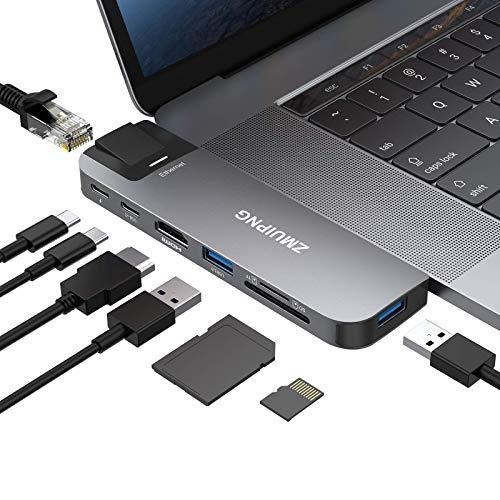 Hub USB CAdaptateur USB-C for MacBook Pro2021/20192018MacBook Air M1,8 in 2 Mac Accessoires Type C avec 4K HDMI, Ethernet,2 USB 3.0, Lecteur de Carte SD/TF, Port Thunderbolt 3&USB CDonnées
