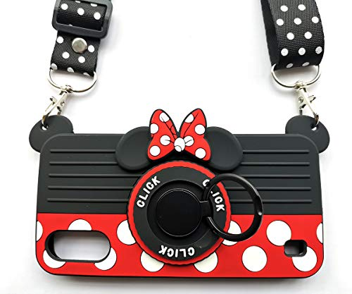 for Samsung Galaxy A01 Case with Lanyard Ring 3D Cute Soft Silicone Cartoon Minnie Mouse Camera Design Phone Case Best Gift for Women/Girls/Kids (A01 5.7in)