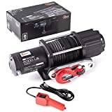 RUGCEL Winch 5000 lb Waterproof Winch ATV/UTV Electric Winch Kit with Hawse Fairlead, Synthetic Rope, 1 Wired Handle (Synthetic Cable Winch - 5000 lb. Load Capacity)