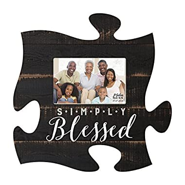 Simply Blessed Black Distressed Wood Look 4 x 6 Wood Puzzle Wall Plaque Photo Frame