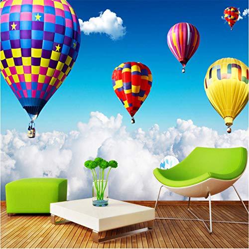 3D muurschildering lucht heteluchtballon op de wolken fotobehang voor kinderen kinderkamer behang wooncultuur 3D ruimte landschap 250 x 175 cm.